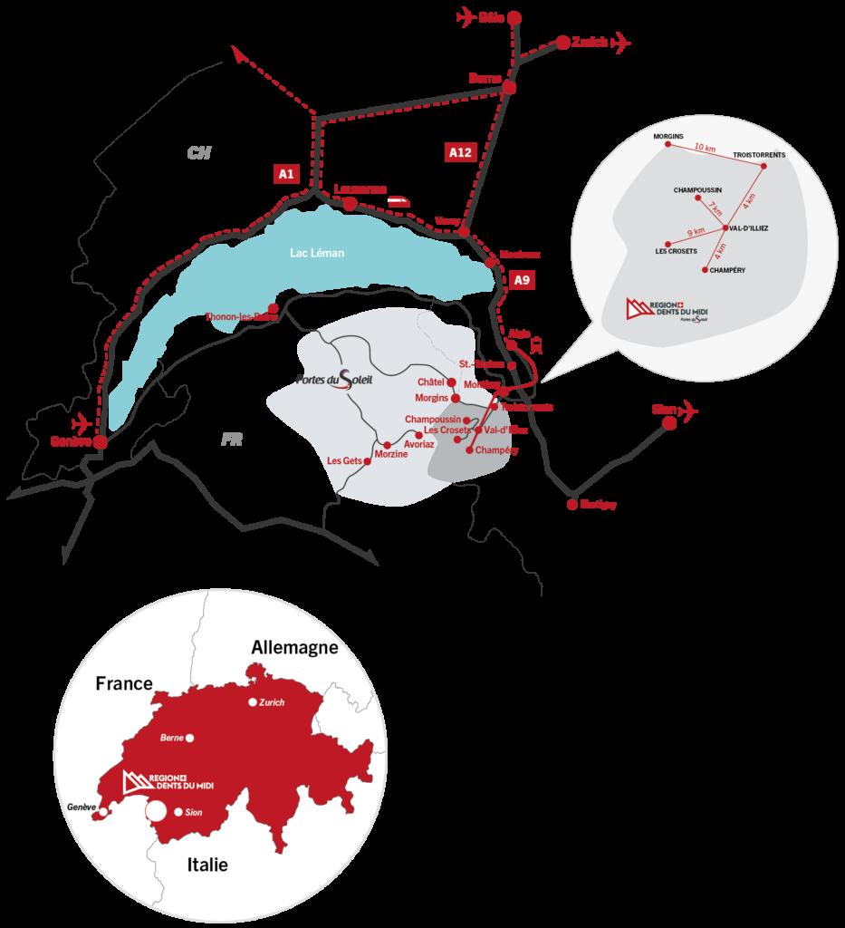Carte d'accès à la Région Dents du Midi via les différents axes de communication.